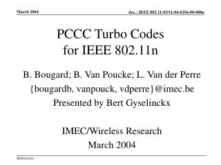 PCCC Turbo Codes  for IEEE 802.11n