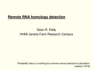 Remote RNA homology detection