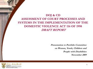 Presentation to Portfolio Committee  on Women, Youth, Children and  People with Disabilities
