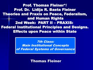 7th Class: Main Institutional Concepts of Federal Systems of Governance