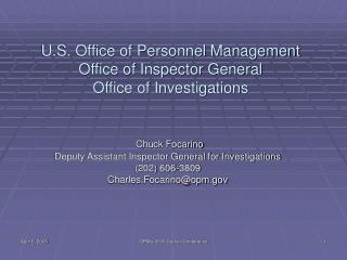 U.S. Office of Personnel Management Office of Inspector General Office of Investigations