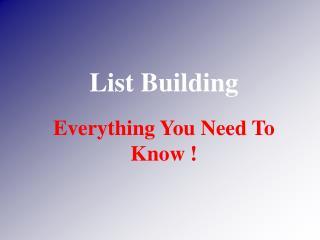 List Building Intro