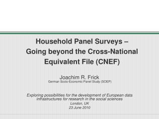 Household Panel Surveys – Going beyond the Cross-National Equivalent File (CNEF)