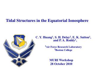 Tidal Structures in the Equatorial Ionosphere