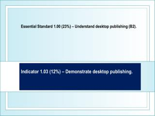 Indicator 1.03 (12%) – Demonstrate desktop publishing.