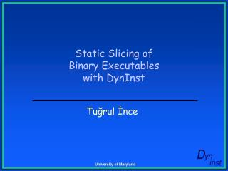 Static Slicing of Binary Executables with DynInst