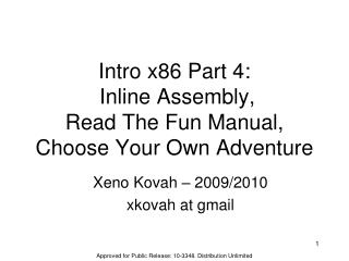 Intro x86 Part 4:  Inline Assembly, Read The Fun Manual, Choose Your Own Adventure