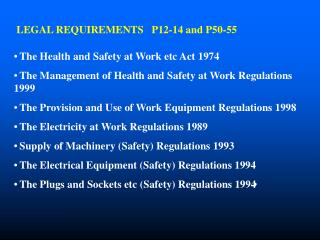 LEGAL REQUIREMENTS   P12-14 and P50-55