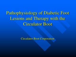 Pathophysiology of Diabetic Foot Lesions and Therapy with the Circulator Boot