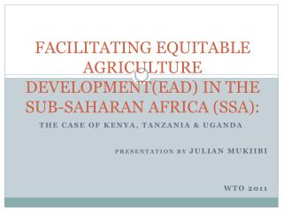 FACILITATING EQUITABLE AGRICULTURE  DEVELOPMENT(EAD) IN THE SUB-SAHARAN AFRICA (SSA):