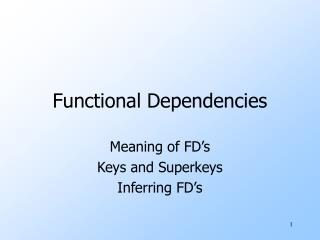 Functional Dependencies