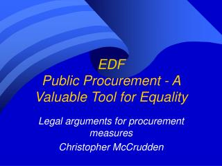 EDF Public Procurement - A Valuable Tool for Equality
