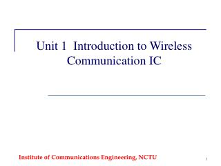 Unit 1  Introduction to Wireless Communication IC
