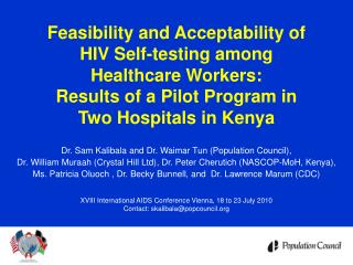 Feasibility and Acceptability of  HIV Self-testing among  Healthcare Workers:   Results of a Pilot Program in  Two Hospi