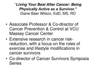 Associate Professor & Co-director of Cancer Prevention & Control at VCU Massey Cancer Center