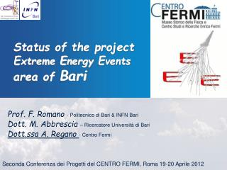 Status of the project  E xtreme  E nergy  E vents area of  Bari