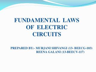 FUNDAMENTAL  LAWS  OF  ELECTRIC CIRCUITS