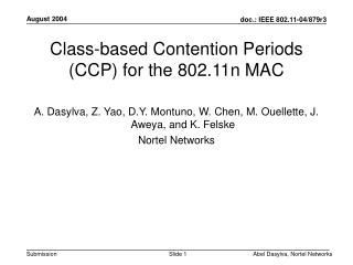 Class-based Contention Periods (CCP) for the 802.11n MAC