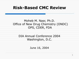 Risk-Based CMC Review