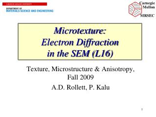 Microtexture: Electron Diffraction  in the SEM (L16)