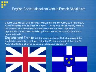 English Constitutionalism versus French Absolutism