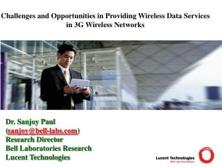 Challenges and Opportunities in Providing Wireless Data Services in 3G Wireless Networks