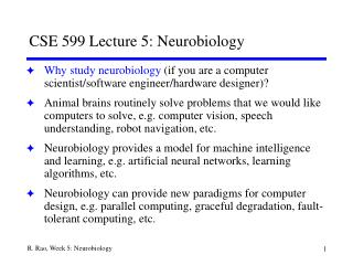 CSE 599 Lecture 5: Neurobiology