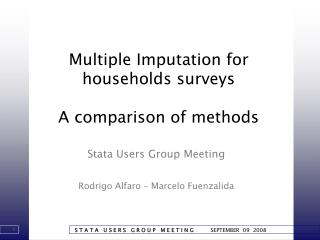 Multiple Imputation for households surveys A comparison of methods