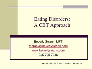 Eating Disorders: A CBT Approach