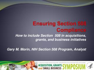 Ensuring Section 508 Compliance