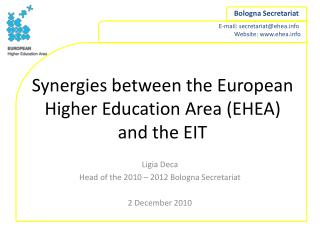Synergies between the European Higher Education Area (EHEA) and the EIT