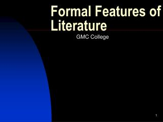 Formal Features of Literature