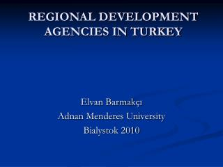 REGIONAL DEVELOPMENT AGENCIES IN TURKEY