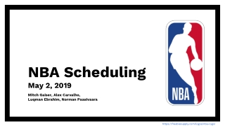 NBA Scheduling May 2, 2019