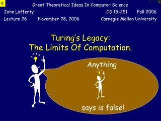 Turing's Legacy:  The Limits Of Computation.