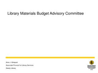 Library Materials Budget Advisory Committee