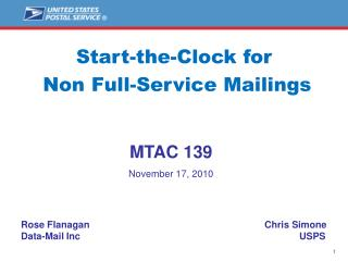 Start-the-Clock for  Non Full-Service Mailings