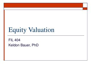 Equity Valuation
