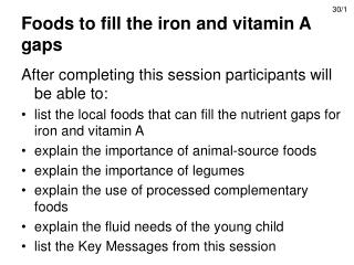 Foods to fill the iron and vitamin A gaps
