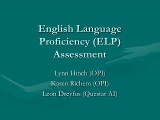 English Language Proficiency (ELP) Assessment
