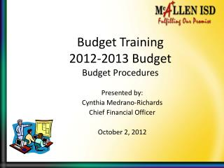 Budget Training 2012-2013 Budget Budget Procedures