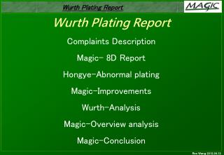Wurth Plating Report Complaints Description Magic- 8D Report Hongye-Abnormal plating