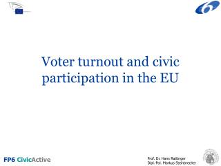 Voter turnout and civic participation in the EU