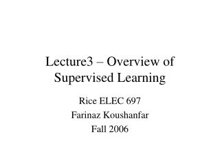 Lecture3 – Overview of Supervised Learning