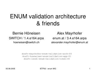 ENUM validation architecture & friends