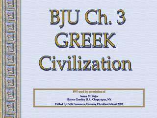 BJU Ch. 3 GREEK Civilization
