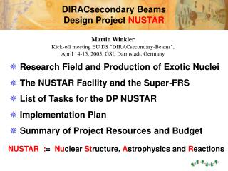 DIRACsecondary Beams  Design Project  NUSTAR