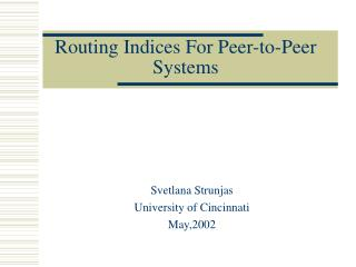 Routing Indices For Peer-to-Peer Systems