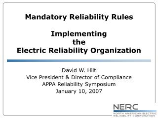 Mandatory Reliability Rules Implementing the Electric Reliability Organization