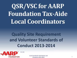 QSR/VSC for AARP Foundation Tax-Aide Local Coordinators